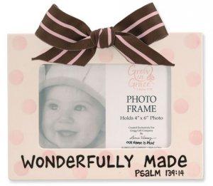 'Wonderfully Made' Pink Polka Dot Ceramic Baby Photo Picture Frame