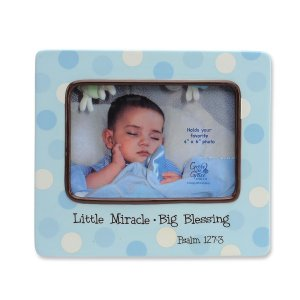 Blue Polka Dot 'Little Miracle....Big Blessing' Baby Boy Porcelain Photo Picture Frame