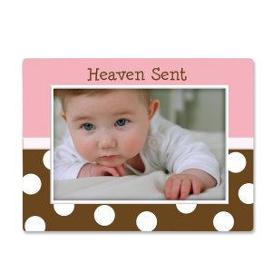 Pink and Chocolate Polka Dot 'Heaven Sent' Baby Girl Ceramic Photo Picture Frame