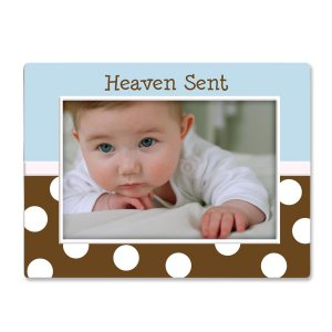 Blue and Chocolate Polka Dot 'Heaven Sent' Baby Boy Ceramic Photo Picture Frame