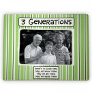 Green and White Striped 3 Generations of Men Ceramic Photo Picture Frame