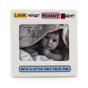 LOOK AT WHAT MOMMY MADE Hand-painted Ceramic Baby Photo Picture Frame