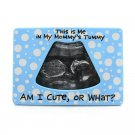 This is Me in Mommy's Tummy Blue Ceramic Ultrasound Baby Photo Picture Frame