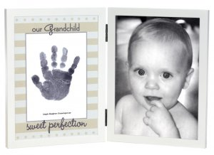'Our Grandchild' Sweet Somethings Handprint White Wood Photo Picture Frame