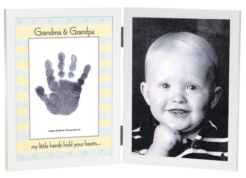 'Grandma & Grandpa' Sweet Somethings Handprint White Wood Photo Picture Frame