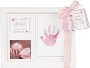 Daddy's Little Girl Baby Photo & Handprint White Wood Picture Frame with Poem