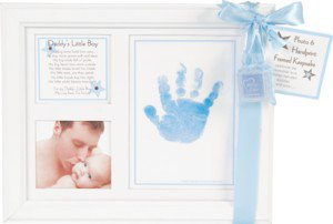 Daddy's Little Boy Baby Photo & Handprint White Wood Picture Frame with Poem