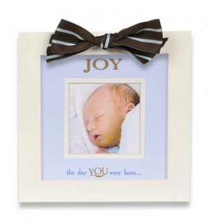 "Defining Baby ""Joy"" White Wood Picture Frame with Brown and Blue Striped Ribbon"