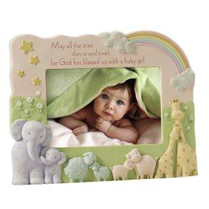Noah's Ark Baby Girl Blessing Stoneware Photo Frame