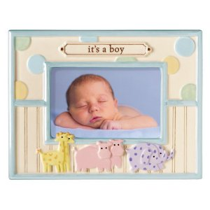 'It's A Boy' Dot Dot Dot Noah's Animals Stoneware Baby Photo Picture Frame