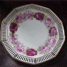 Antique Lg ERPHILA Germany Ebeling & Reuss Plate w/Roses & Pierced Gold Gilt Rim