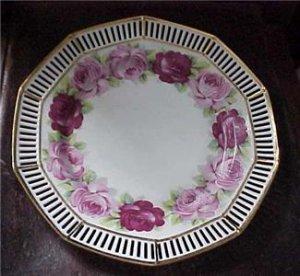 Antique Lg ERPHILA Germany Ebeling & Reuss Plate w/Roses & Pierced Gold Gilt Rim