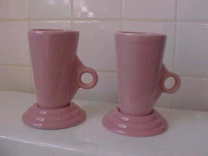 Feltman Langer pink tall cup and saucer set (pair) Modern Deco Design
