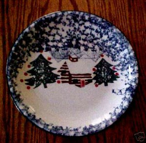 Tienshan Folk Craft China Cabin in the Snow Salad Plate
