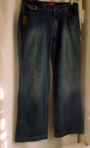 "Really Cute Fitting ""RB"" Stretch Plus Size 12 Blue Jeans - with Rhinestone Studs"
