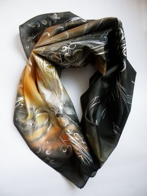 Hand painted natural Womens silk scarf Cosmoss FREE SHIPPING