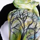 Hand painted Womens silk scarf Trees in the spring FREE SHIPPING