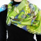 Hand painted Womens silk scarf kerchief Green Butterflies FREE SHIPPING