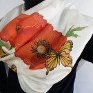 Hand painted long Womens scarf Butterlfies and Red poppies 63 in X 17.7 in FREE SHIPPING