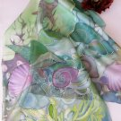Hand painted Womens silk scarf UNDERWATER FREE SHIPPING