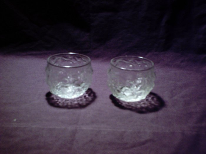 Pair of rounded bubbled glass tealight candle holders