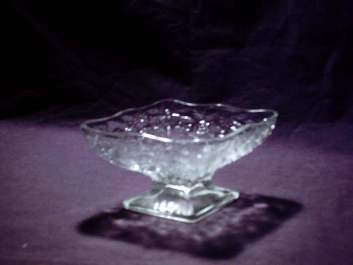 Beautiful diamond shaped cut glass pedestal dish floral pattern
