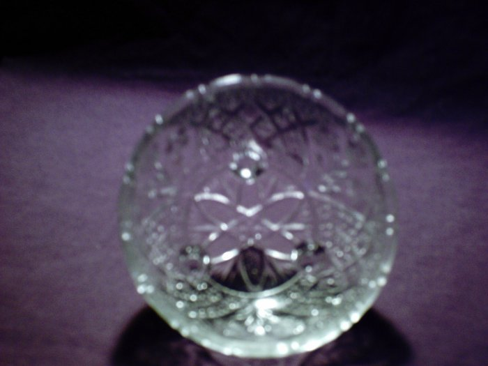 Pretty round cut glass bowl with 3 feet