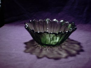 Large green flower glass bowl