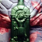Green Bacchian Bacchus Romanesque bottle depicting wine harvest