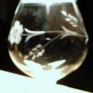 Brandy snifter etched with wheat flower vines