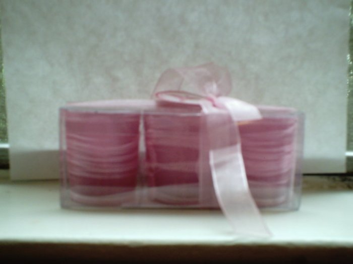 "Battery Operated ""Think Pink"" Fabric Covered Votive Candles NIP"