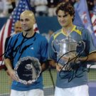 ROGER FEDERER AND ANDRE AGASSI SIGNED AUTOGRAPHED RP