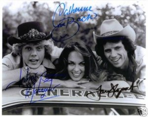 THE DUKES OF HAZZARD CAST SIGNED RP PHOTO BO LUKE DAISY DUKE ALL 3 W GENERAL LEE