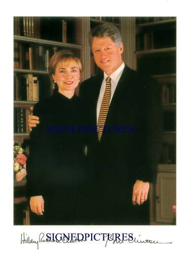 US PRESIDENT BILL AND HILLARY CLINTON SIGNED RP PHOTO