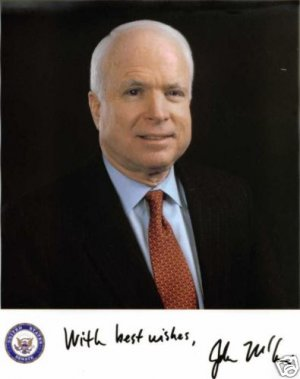 JOHN McCAIN US SENATOR SIGNED AUTOGRAPHED RP PHOTO