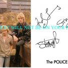 THE POLICE BAND AUTOGRAPHED 6x9 RP PROMO PHOTO STING ANDY SUMMERS AND COPELAND