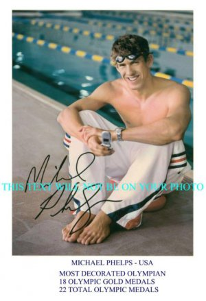 MICHAEL PHELPS AUTOGRAPHED SIGNED 6x9 RP PHOTO 18 OLYMPIC GOLD MEDALS GREAT OLYMPIAN