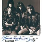 THE RAMONES GROUP AUTOGRAPHED 8x10 RP PUBLICITY PHOTO ALL 4 CJ JOHNNY JOEY MARKY