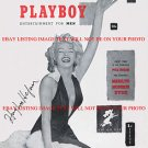 HUGH HEFNER AUTOGRAPHED 8x10 RP 1953 1st PLAYBOY COVER PHOTO WITH MARILYN MONROE
