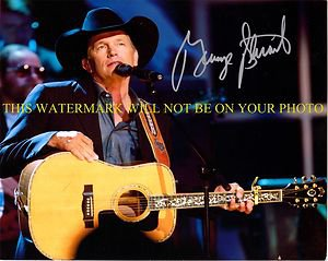 GEORGE STRAIT SIGNED AUTOGRAPHED 8x10 RP PHOTO WITH GUITAR