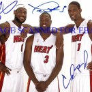 LEBRON JAMES CHRIS BOSH AND DWYANE WADE AUTOGRAPHED 8x10 RP PHOTO MIAMI HEAT