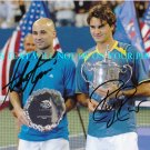 ROGER FEDERER AND ANDRE AGASSI SIGNED AUTOGRAPHED 8X10 PHOTO TENNIS LEGENDS