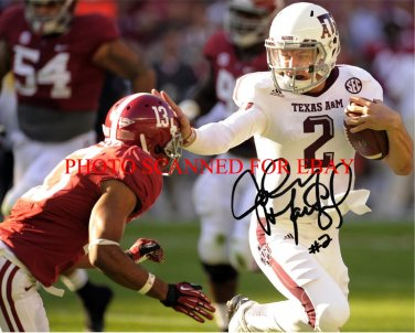 JOHNNY MANZIEL SIGNED AUTOGRAPHED 8x10 RP PHOTO TEXAS A&M HEISMAN WINNER AMAZING BLOCK