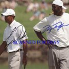 MICHAEL JORDAN AND TIGER WOODS SIGNED AUTO 8X10 RP PHOTO LEGENDS