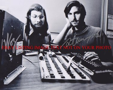 STEVE JOBS AND STEVE WOZNIAK SIGNED AUTOGRAPHED 8x10 RP PHOTO APPLE COMPUTER LEGENDS