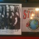 THE ROLLING STONES FRAMED SIGNED AUTOGRAPHED RP PHOTO AND FLYER JAGGER RICHARDS WOOD +