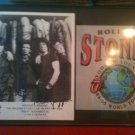 THE ROLLING STONES FRAMED AUTOGRAPHED RP PHOTO AND FLYER JAGGER RICHARDS WOOD +