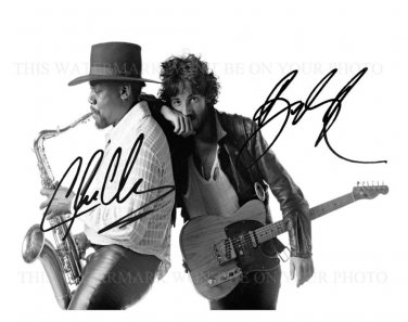 BRUCE SPRINGSTEEN AND CLARENCE CLEMONS AUTOGRAPHED 8x10 RPT PHOTO E STREET BAND