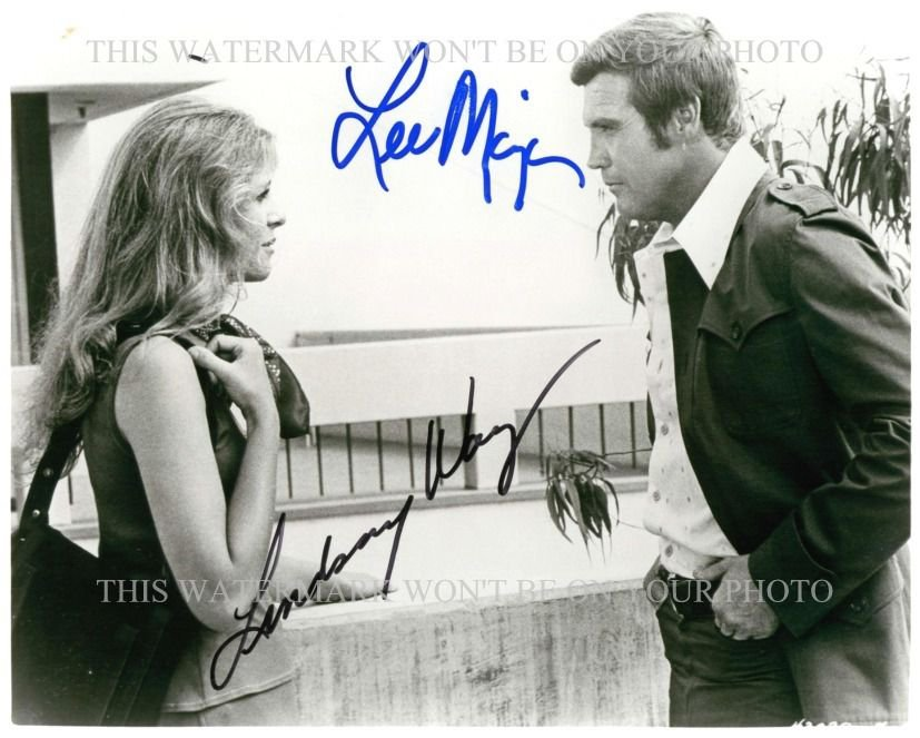 LEE MAJORS AND LINDSAY WAGNER AUTOGRAPHED 8x10 RPT PHOTO BIONIC WOMAN 6 MILLION