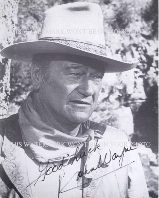 JOHN WAYNE AUTOGRAPHED 8x10 RPT PHOTO TRUE COWBOY THE DUKE